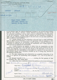 MAGGI BROWN - DOCUMENT SIGNED 03/21/1961