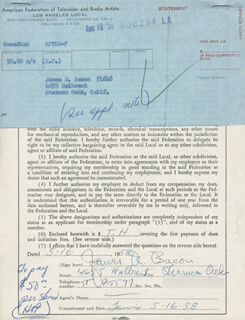 JAMES JIM BACON - DOCUMENT SIGNED 05/16/1958