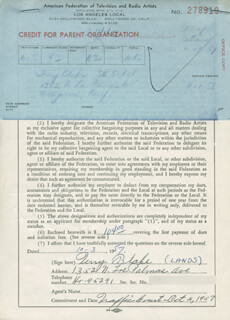 TERRY BLAKE - DOCUMENT SIGNED 10/03/1957
