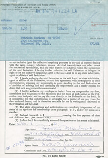 PATRICIA MARLOWE - DOCUMENT SIGNED 12/02/1960