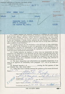 ALEXANDER KEEFE - DOCUMENT SIGNED 01/12/1959