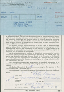 PETER BOURNE - DOCUMENT SIGNED 01/03/1959