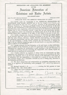 JUNE KIM - DOCUMENT SIGNED 05/25/1959