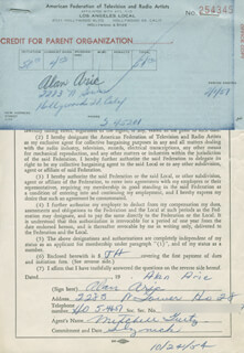 ALAN ARIC - DOCUMENT SIGNED 10/24/1954
