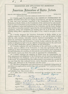 FRANK HYERS - DOCUMENT SIGNED 03/31/1950