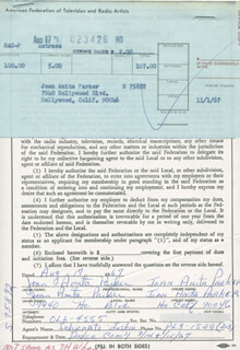 JOAN ANITA PARKER - DOCUMENT DOUBLE SIGNED 08/17/1967
