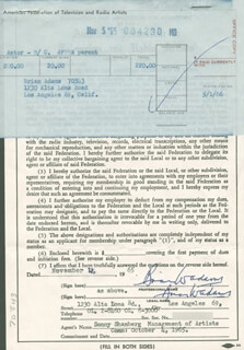 Autographs: BRIAN W. ADAMS - DOCUMENT DOUBLE SIGNED 11/04/1965