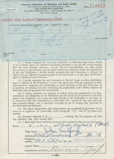 JOHN MILFORD - DOCUMENT SIGNED 06/14/1955