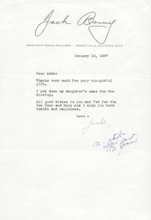JACK BENNY - TYPED LETTER SIGNED 01/12/1967