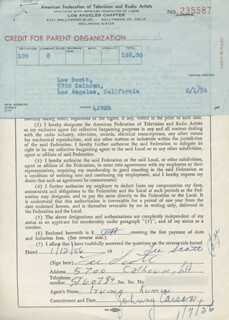 LEE SCOTT - DOCUMENT SIGNED 01/12/1956