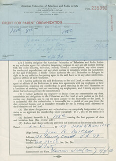 Autographs: JOAN DUSTY BARTLETT HUNTER - DOCUMENT SIGNED 04/06/1956