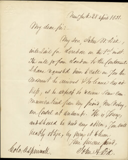 Autographs: MAJOR GENERAL JOHN A. DIX - AUTOGRAPH LETTER SIGNED 04/28/1851