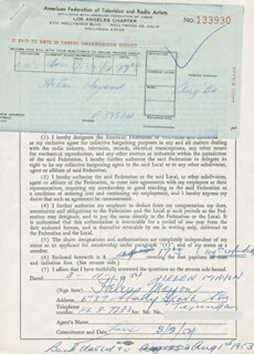 HELEN MAYON - DOCUMENT SIGNED 03/11/1954