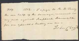 Autographs: CHIEF JUSTICE ROGER B. TANEY - AUTOGRAPH DOCUMENT SIGNED 2/1812