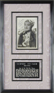 SOPHIE TUCKER - AUTOGRAPHED INSCRIBED PHOTOGRAPH