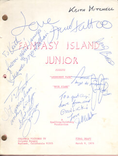 FANTASY ISLAND TV CAST - SCRIPT SIGNED CO-SIGNED BY: JOANNA BARNES, JILL WHELAN, RICARDO MONTALBAN, JIMMY BAIO, HERVE VILLECHAIZE, JARROD JOHNSON