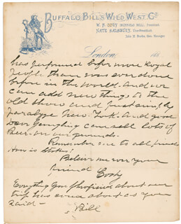 WILLIAM F. BUFFALO BILL CODY - PARTIAL AUTOGRAPH LETTER SIGNED TWICE