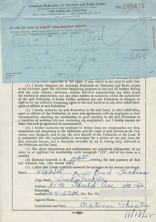 BRADFORD BRAD JACKSON - DOCUMENT SIGNED 11/22/1955