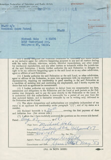 MICHAEL HALE - DOCUMENT SIGNED 08/27/1958