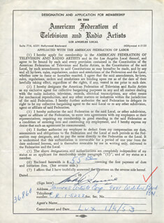 MICHAEL RENNIE - DOCUMENT SIGNED 01/04/1953
