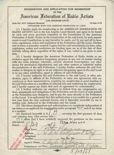 PETER HANSEN - DOCUMENT SIGNED 05/29/1951