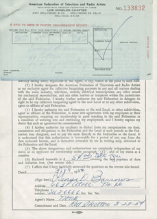 GEORGE D. BARROWS - DOCUMENT SIGNED 03/19/1954