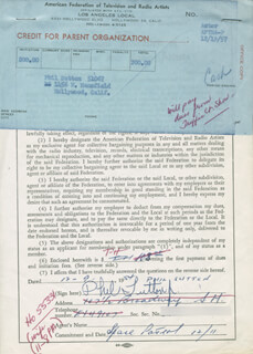 PHIL SUTTON - DOCUMENT SIGNED 12/09/1954