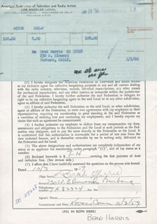 BRAD HARRIS - DOCUMENT SIGNED 10/03/1959