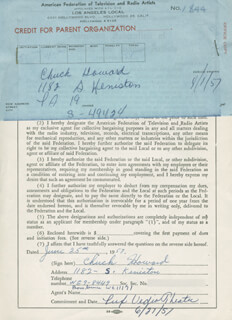 CHUCK HOWARD - DOCUMENT SIGNED 06/25/1957