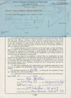 KEN MILLER - DOCUMENT SIGNED 02/17/1958