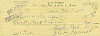 JOHN FREDERICK - AUTOGRAPHED SIGNED CHECK 11/11/1959