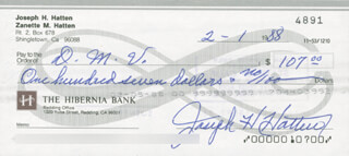 JOE HATTEN - AUTOGRAPHED SIGNED CHECK 02/01/1988