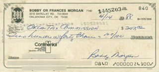 BOBBY MORGAN - AUTOGRAPHED SIGNED CHECK 04/14/1988