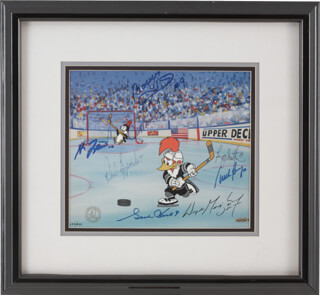 Autographs: 500 GOAL SCORERS - PRINTED ART SIGNED CO-SIGNED BY: PHIL ESPOSITO, BOBBY THE GOLDEN JET HULL, STAN MIKITA, BRYAN TROTTIER, WAYNE GRETZKY, GORDIE HOWE, MIKE BOSSY, FRANK MAHOVLICH
