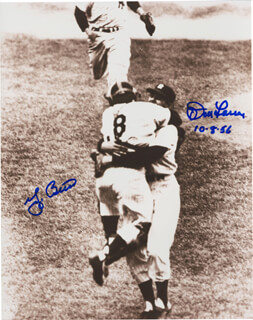 YOGI BERRA - AUTOGRAPHED SIGNED PHOTOGRAPH CO-SIGNED BY: DON LARSEN