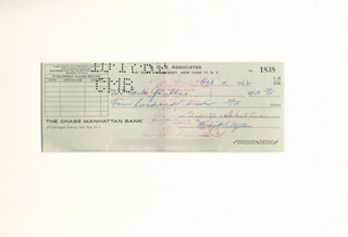 Autographs: CARLO DON CARLO GAMBINO - CHECK ENDORSED 10/04/1962 CO-SIGNED BY: HENRY SALTZSTEIN, GEORGE SCHILLER