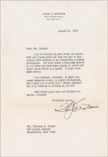 THOMAS J. WATSON SR. - TYPED LETTER SIGNED 08/21/1952