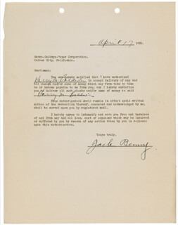 JACK BENNY - DOCUMENT SIGNED 04/17/1935