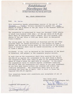 SAMMY DAVIS JR. - DOCUMENT SIGNED CO-SIGNED BY: IVOR DAVID BALDING