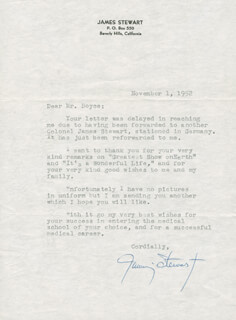 JAMES JIMMY STEWART - TYPED LETTER SIGNED 11/01/1952