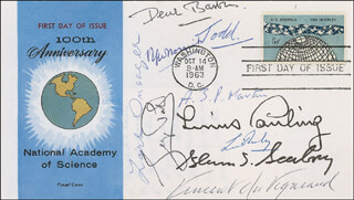 LINUS PAULING - FIRST DAY COVER SIGNED CO-SIGNED BY: GEORGE PORTER, VINCENT DU VIGNEAUD, A.J.P. MARTIN, GLENN T. SEABORG, RONALD GEORGE WREYFORD NORRISH, LORD ALEXANDER R. TODD, DEREK BARTON, LARS ONSAGER, LUIS FEDERICO LELOIR
