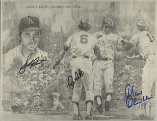THE NEW YORK YANKEES - PRINTED ART SIGNED CO-SIGNED BY: BUCKY DENT, CHRIS CHAMBLISS, ROY WHITE