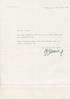MAX SCHMELING - TYPED LETTER SIGNED