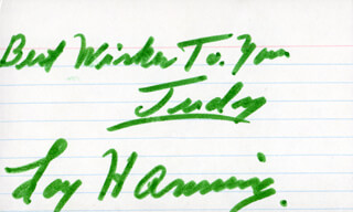 LOY HANNING - INSCRIBED SIGNATURE