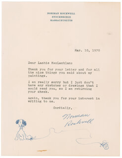 NORMAN ROCKWELL - ORIGINAL ART ON TYPED LETTER SIGNED 03/10/1970