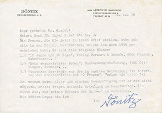 GRAND ADMIRAL KARL DONITZ - TYPED LETTER SIGNED 10/24/1978