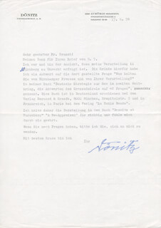 GRAND ADMIRAL KARL DONITZ - TYPED LETTER SIGNED 06/17/1978