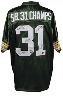 GREEN BAY PACKERS - JERSEY SIGNED CO-SIGNED BY: MARK CHMURA, CHRIS JACKE, ANTONIO FREEMAN, FRANK WINTERS, LEROY BUTLER, DON BEEBE