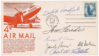 ENOLA GAY CREW - COMMEMORATIVE ENVELOPE SIGNED CO-SIGNED BY: ENOLA GAY CREW (THEODORE VAN KIRK), ENOLA GAY CREW (RICHARD H. NELSON), ENOLA GAY CREW (JACOB BESER), ENOLA GAY CREW (GEORGE R. CARON), ENOLA GAY CREW (PAUL W. TIBBETS), ENOLA GAY CREW (COLONEL THOMAS W. FEREBEE)