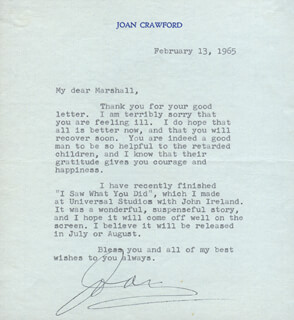 JOAN CRAWFORD - TYPED LETTER SIGNED 02/13/1965